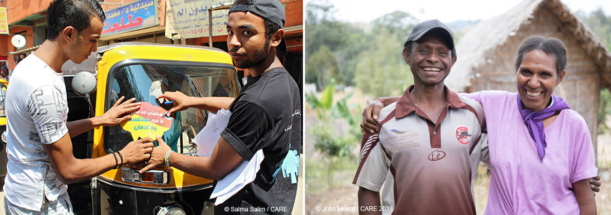 composite image tuk-tuk drivers in Egypt and coffee farmer couple in Papua New Guinea