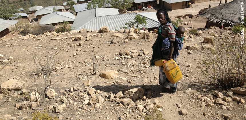 A mother walks for miles to collect water in drought affected area of Ethiopia