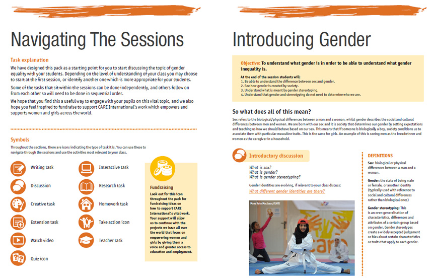 Extract from CARE gender teaching resources