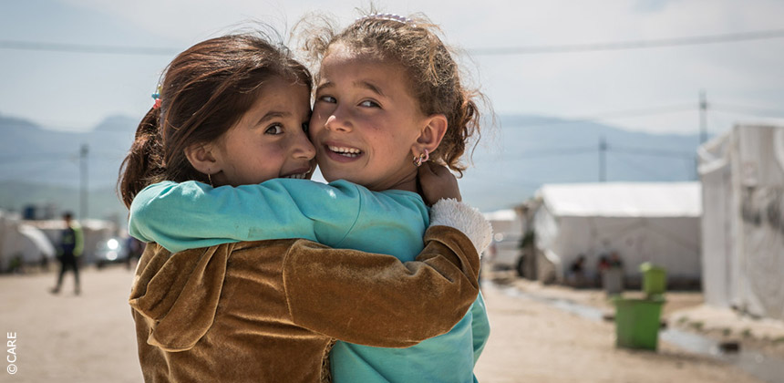 Girls in refugee camp, Iraq