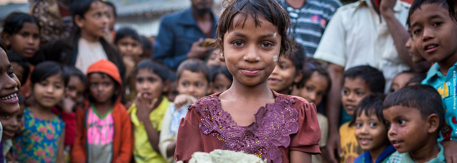 Girl and children in refugee camp in Bangladesh