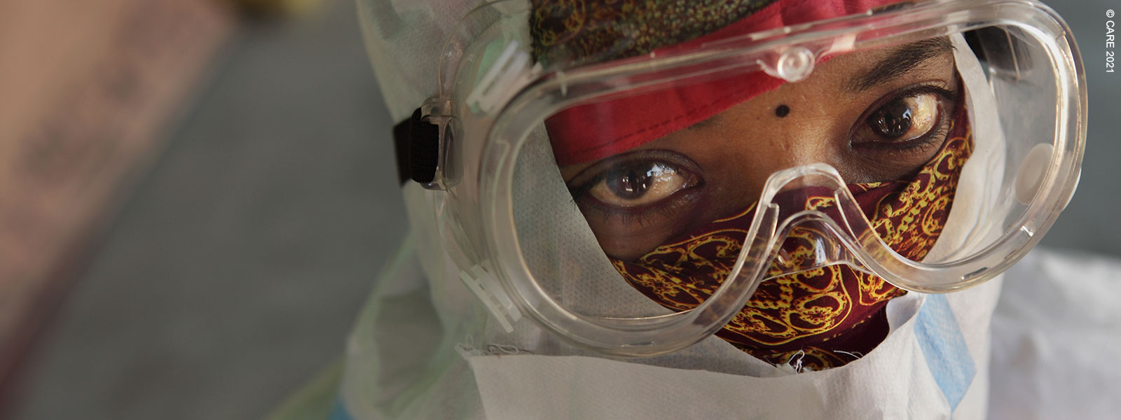 A healthcare worker in mask and PPE, Bihar, India