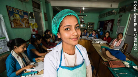 Nurse at a training session in Nepal