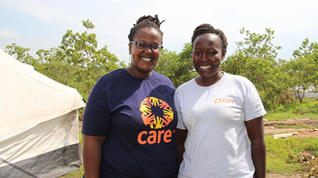 CARE staff members at refugee camp in Uganda