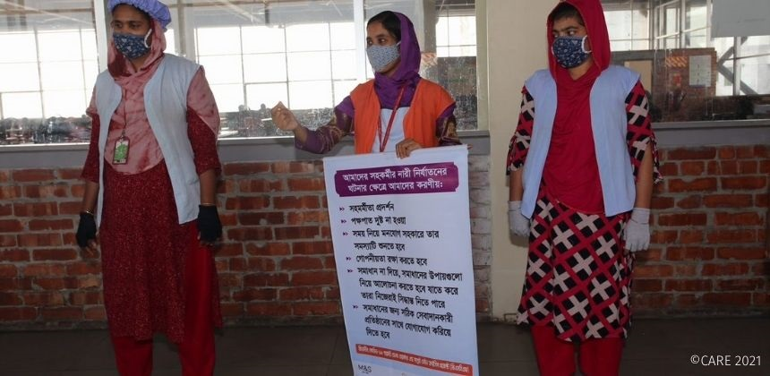 Women garment factory workers in Bangladesh take part in a training.