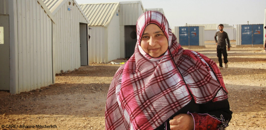 Nesreen fled Syria two months ago. She is now volunteering as a teacher with CARE at Azraq camp, Jordan