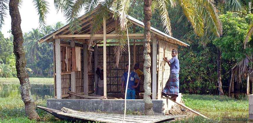 Construction goes on in Bangladesh even during this year's flooding