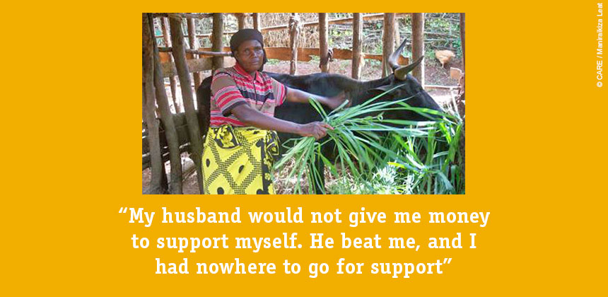 "Consalata at work on her farm: ""My husband would not give me money to support myself. He beat me, and I had nowhere to go for support."""