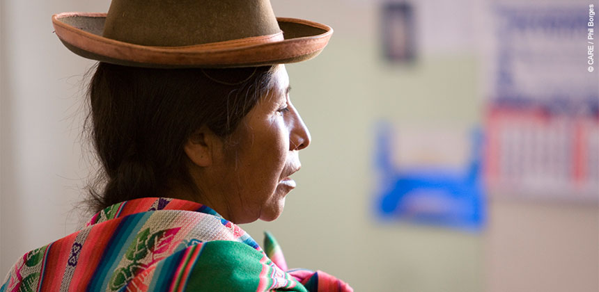 Eugenia Itme, 53, was trained by CARE to be a citizen monitor of the health post outside Ayaviri, Peru. She ensures quality care and helps resolve disputes.