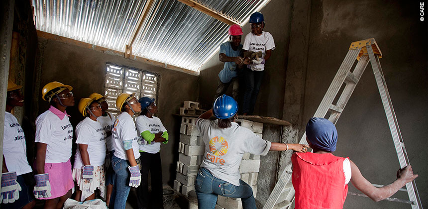 "Women have been learning typically ""male"" skills like brick laying and carpentry offering them new chances in Haiti. © CARE"