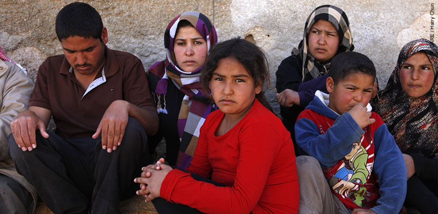 A Syrian family now living as refugees in Jordan © CARE / Harry Chun