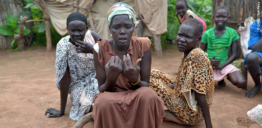 Women in South Sudan who were forced to leave their homes