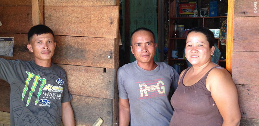 Erna Celis (right) pictured at her family home Katipunan, a village just outside Tacloban