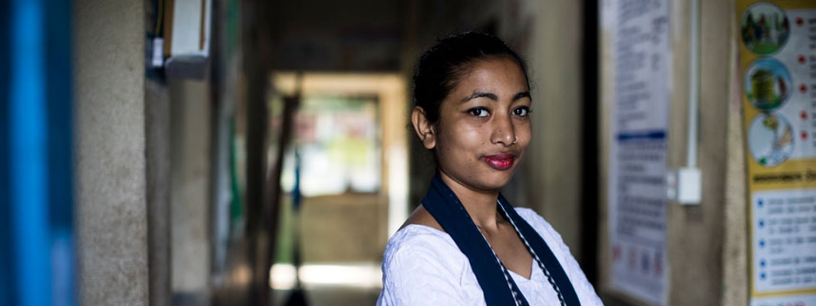 Midwife Arati pictured in health centre, Nepal