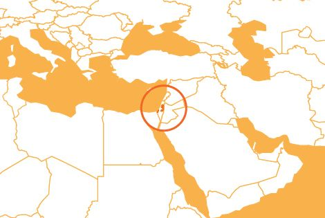West Bank and Gaza country map
