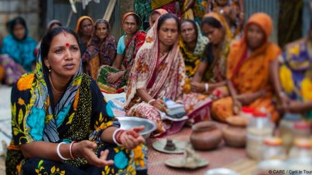 Women at a community meeting in Bangladesh