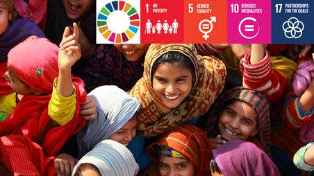 Girls in India with SDGs overlay