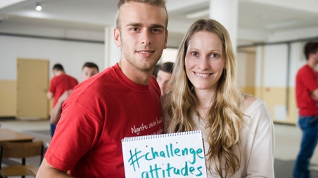 Laura Bates (of the Everyday Sexism Project) and a member of our engaging men group in Kosovo