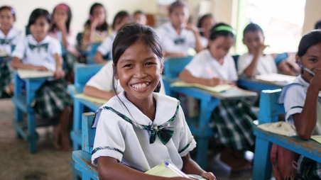 Girls in a classroom in the Philippines