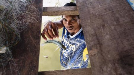 A man shows a fish in a fishing net