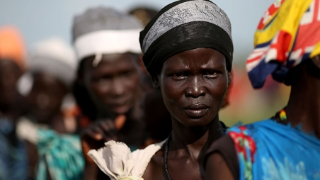 Woman in South Sudan queuing