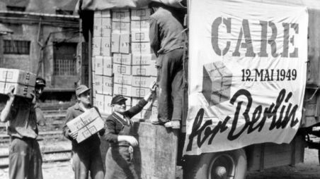 CARE packages being loaded onto a lorry in 1949