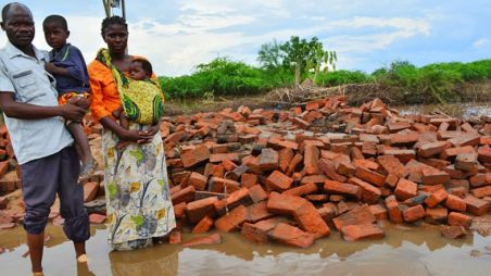 Flooded area in Nsanje district, Malawi where waters have damaged houses, livestock and propert