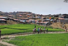 People walking across a field at Cox's Bazar refugee camp