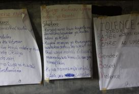 Posters in a counselling centre in Goma