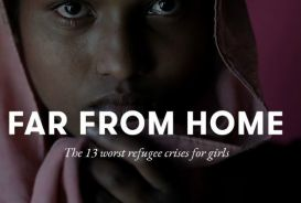 Girl refugee on cover of Far From Home report
