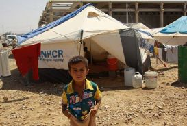 Children in the camp have no warm clothes to protect them from the harsh winter