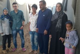 Ali and family in Azraq camp, Jordan