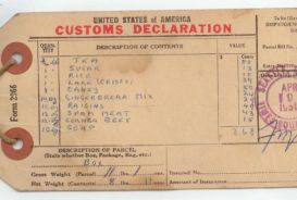 The customs declaration on the package label