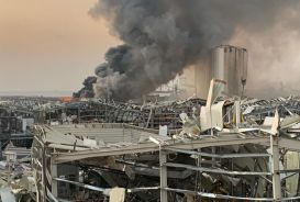 Damaged buildings at Beirut port after explosion