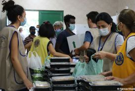 Hot meals being prepared for distribution in Beirut