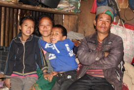 A family in their temporary shelter in Nepal