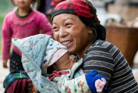 A woman with her baby in Nepal