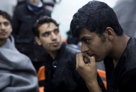 Young men at a refugee centre in Serbia