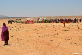 An informal settlement in drought-affected Somalia