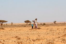 People walking across arid scrubland
