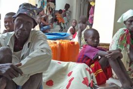 People in South Sudan wait for nutrition screening