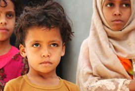 Three young children in Yemen