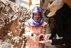 Malak learning handwashing technique, Yemen