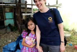 Marlina with CARE's Melanie Brooks in Jantho Aceh Besar Indonesia in October 2014 © CARE / Josh Estey