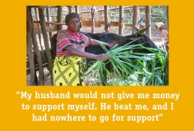 """Consalata at work on her farm: """"My husband would not give me money to support myself. He beat me, and I had nowhere to go for support."""""""