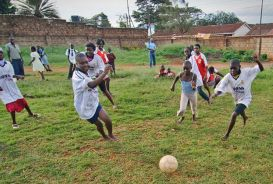 Kibera Hamlet girl's soccer team made up of 25 girls aged 12-25
