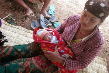 Asmita gave birth to her child a few days after the earthquake