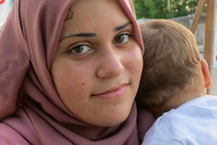 Batoul with her baby