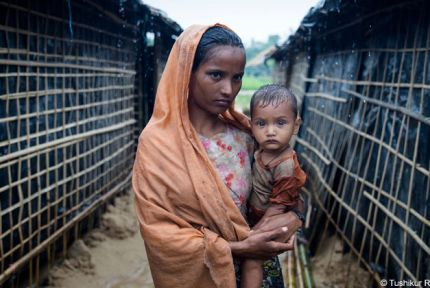 Woman and baby at refugee camp in Bangladesh