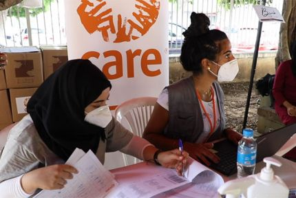 CARE staff in Beirut at a emergency aid distribution